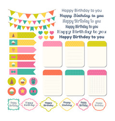 Set of birthday party design elements template vector