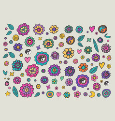 set of colorful hippie flowers vector image