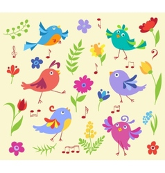 Set of cute spring musical birds vector