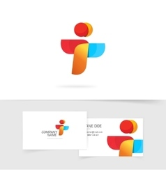 Two element abstract logo and business card vector image vector image