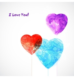 Watercolor beautiful hearts vector image vector image