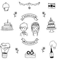 Wedding doodle art vector image