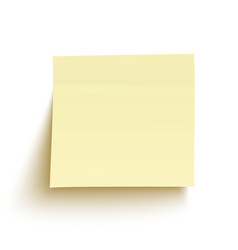 Yellow sticky note isolated on white background vector image vector image