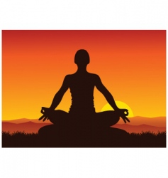 Yoga sunset vector image vector image