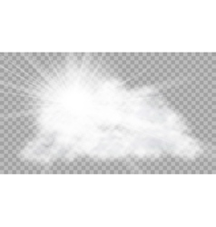 Realistic cloud with sun flare on transparent vector