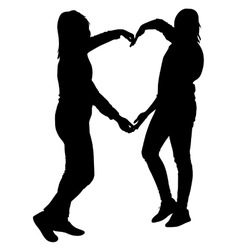 Silhouette two girls holding hands in heart shape vector image