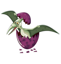 Dinosaur comes out of purple egg vector