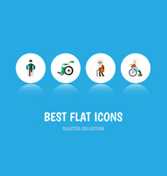 Flat icon cripple set of injured handicapped man vector