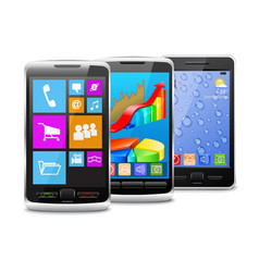 Modern and old mobile phones vector image