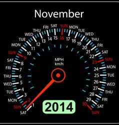 2014 year calendar speedometer car in November vector image