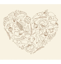 Heart from vegetables vector