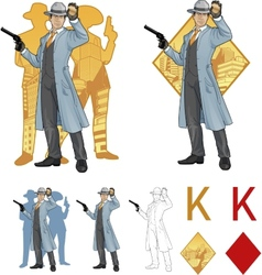 King of diamonds asian police chief and people vector