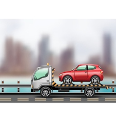 Towing truck in the city vector