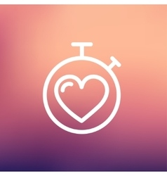 Heart time thin line icon vector