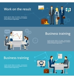 Business coaching investment flat banners set vector
