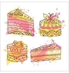 cake  Set of 4 hand drawn vector image