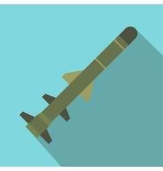 Flying military missile flat icon vector