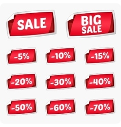 Set of red stickers for discount vector image