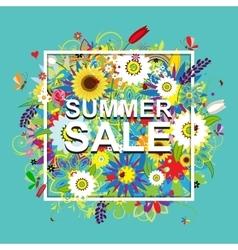 Summer sale floral frame for your design vector