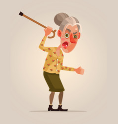 angry old woman character vector image