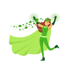 beautiful woman eco superhero in costume mask and vector image vector image