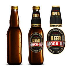 beer-mock-up-set brown bottle without a label vector image vector image