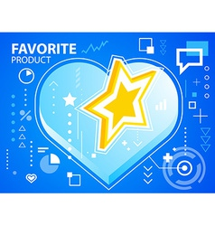 Bright heart and star on blue background for vector