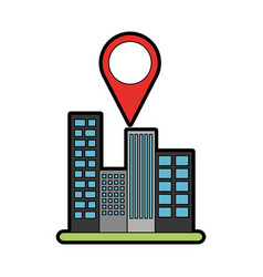 Buildings cityscape scene with pin location vector
