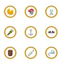 Corsair adventure icons set cartoon style vector