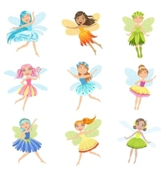 Cute Fairies In Pretty Dresses Girly Cartoon vector image