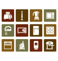 Flat Kitchen and home equipment icons vector image