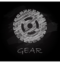 Gear charcoal silhouette vector