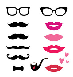 Lips and mustache set vector