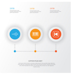 Music icons set collection of frequency run song vector