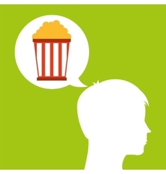 Pop corn silhouette head think movie vector