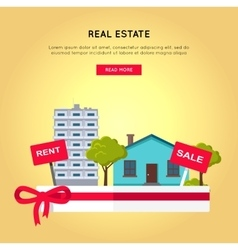 Real Estate Web Banner in Flat Design vector image
