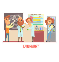 Scientists characters conducting research in a lab vector