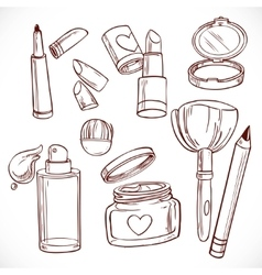 Set of doodles on cosmetics cream face powder vector image