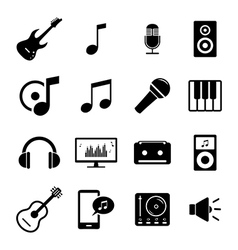 Set of flat icons - audio music and sound related vector image vector image