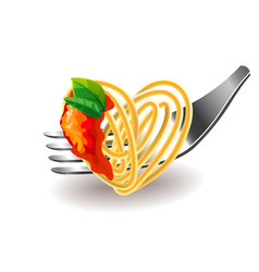 Spaghetti on fork isolated vector