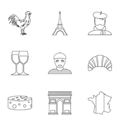 Stay in france icons set outline style vector