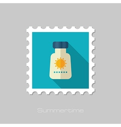 Sunscreen flat stamp Summer Vacation vector image vector image