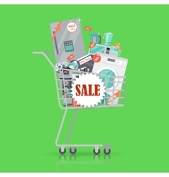 Super sale banner household appliances in trolley vector