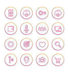 thin line web icons set basic interface elements vector image vector image
