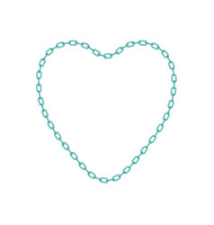 Turquoise chain in shape of heart vector