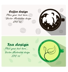 Two cute banner and business cards with cup of vector
