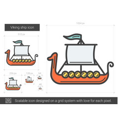 Viking ship line icon vector