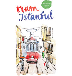 watercolor old red tram in istanbul vector image vector image