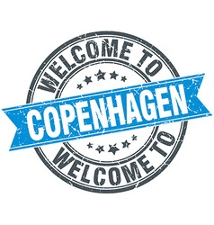 Welcome to copenhagen blue round vintage stamp vector