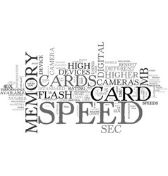 What is memory card speed text word cloud concept vector
